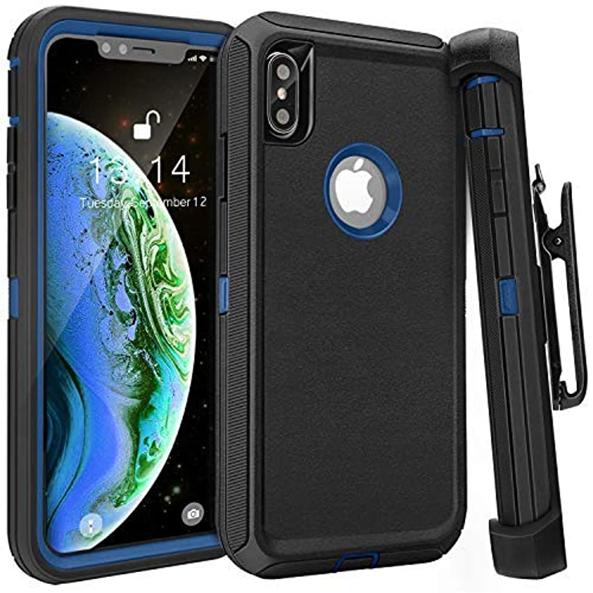 iPhone Xs Max Case,FOGEEK Belt Clip Holster Heavy Duty Kickstand Cover [Support Wireless Charging] [Dust-Proof] [Shockproof] Compatible for Apple iPhone Xs Max [6.5 inch] (Black/Blue)