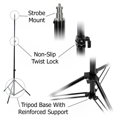 Fotodiox Heavy Duty Studio Light Stand FX-806, 8.5 ft. Stand with Spring Cushion for Studio Strobe, Lighting Fixtures