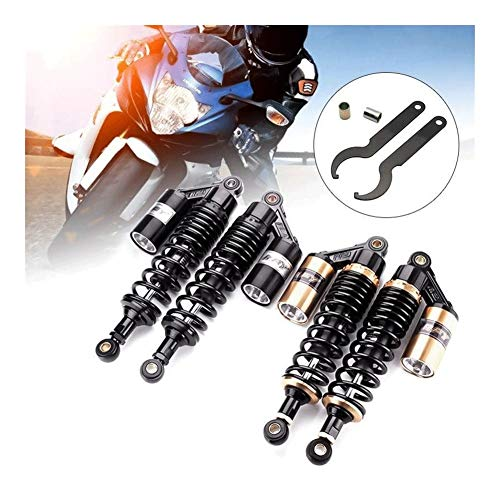 RKRLJX Motorrad-Shocks Pair Universal-280/320/340/360 / 380mm Motorrad Luftdämpfer Aufhängung hinten for ATV Scooter Dirt Pit Street Bike Motorrad federbein Stoßdämpfer (Color : 360mm Gold)