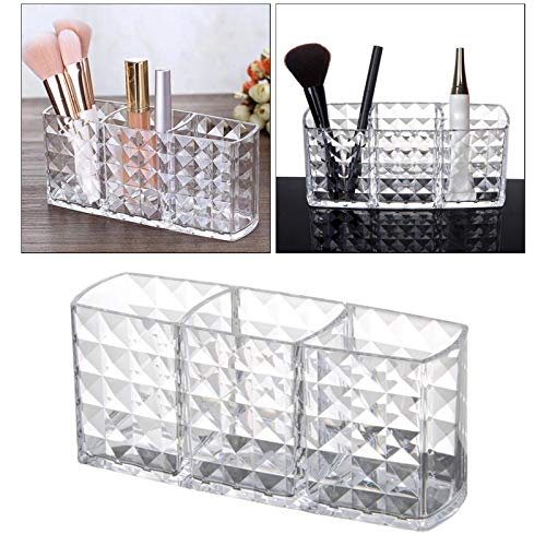 EVENN Clear Acrylic Makeup Brush Organizer Storage Case Pen/Pencil Holder 3 Grids Cosmetic Organizer Makeup Brush Container Option1