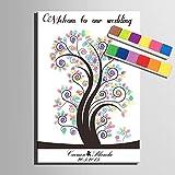 FANGYAO Impresiones de huellas dactilares personalizado lona de pintura - el Color de los árboles (incluye 12 colores de tinta)