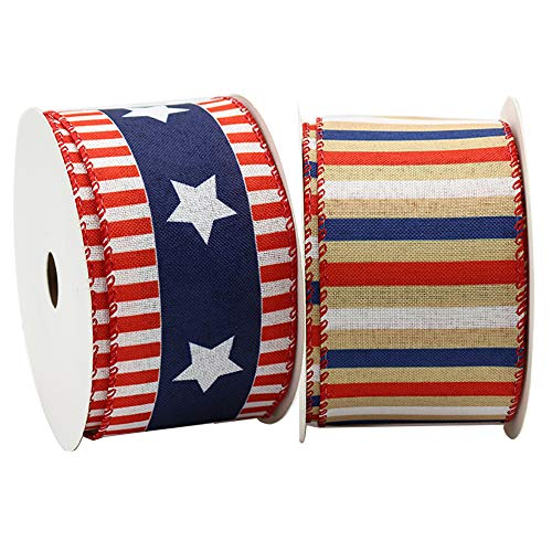 """Independence Day Ribbon Red White Blue National Day Vertical Pattern Five-Pointed Star Ribbon,Horizontal Stripe Wired Edge Ribbon,Patriotic Stars & Stripes Canvas Wired Edge Ribbon-20 Yards (2.5"""")"""