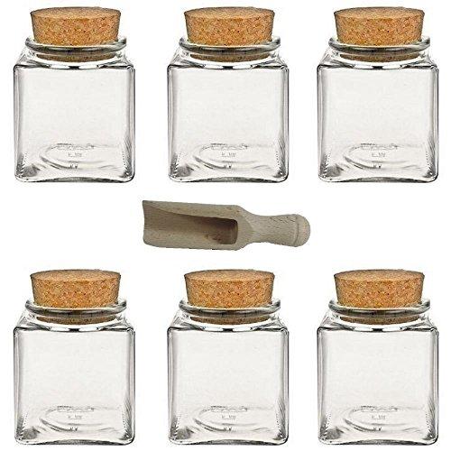 6 Gewürzgläser/Vorratsdosen/Glasdosen mit Korkverschluss für Gewürze, Salz, Kräuter, etc. ca. 200 ml - inkl. einer Gewürzschaufel aus Holz 7,5 cm