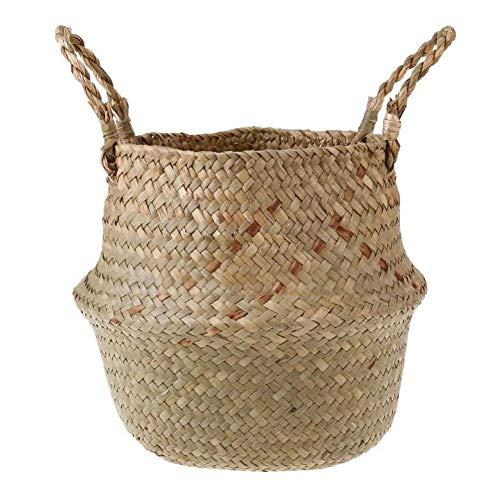WE-WIN Panier de l'herbe de mer Naturelle, Seagrass Ventre Panier Moderne tissé pour Le Stockage, blanchisserie, Pique-niquer, Plante Pot, Sac de Plage