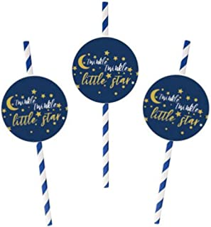 48 Pack Twinkle Twinkle Little Star Straw Decoration with Star Cut-out Baby Shower Birthday Party Straws for Birthday Part...