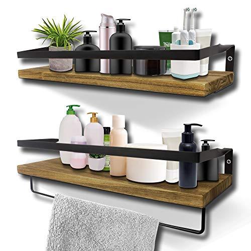 KelShiBasics Schweberegal 2er Set - Wandregal aus Holz und Metall für Küche und Badezimmer - Industrial Design Hängeregal mit extra Handtuchhalter - 43 x 14,5 x 7 cm - Schwarz