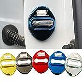 4枚セット 5色選択可 ホンダ 無限 MUGEN POWER ストライカー カバー ドアロック カバー メッキ 高品質 鏡面ステンレススト ホンダ 社外品 クロス贈る (ブルー)