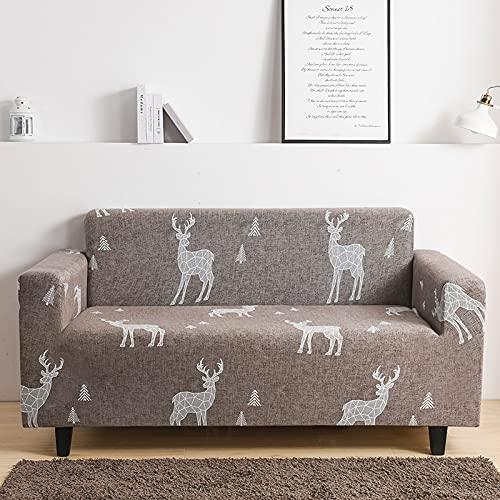 Funda de sofá Floral elástica con Todo Incluido Funda de sofá con diseño de Ciervos navideños Funda de sofá Funda de protección para Muebles Funda de sofá A13 2 plazas