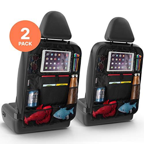 2er Set Rücksitz Auto Organizer - Multifunktionaler Rückenschutz Auto für iPad, Getränke, Spielzeug, usw.- Easy Kinder Autositzschoner Rückenlehne Rückenlehnenschutz Autoorganisator Autositz