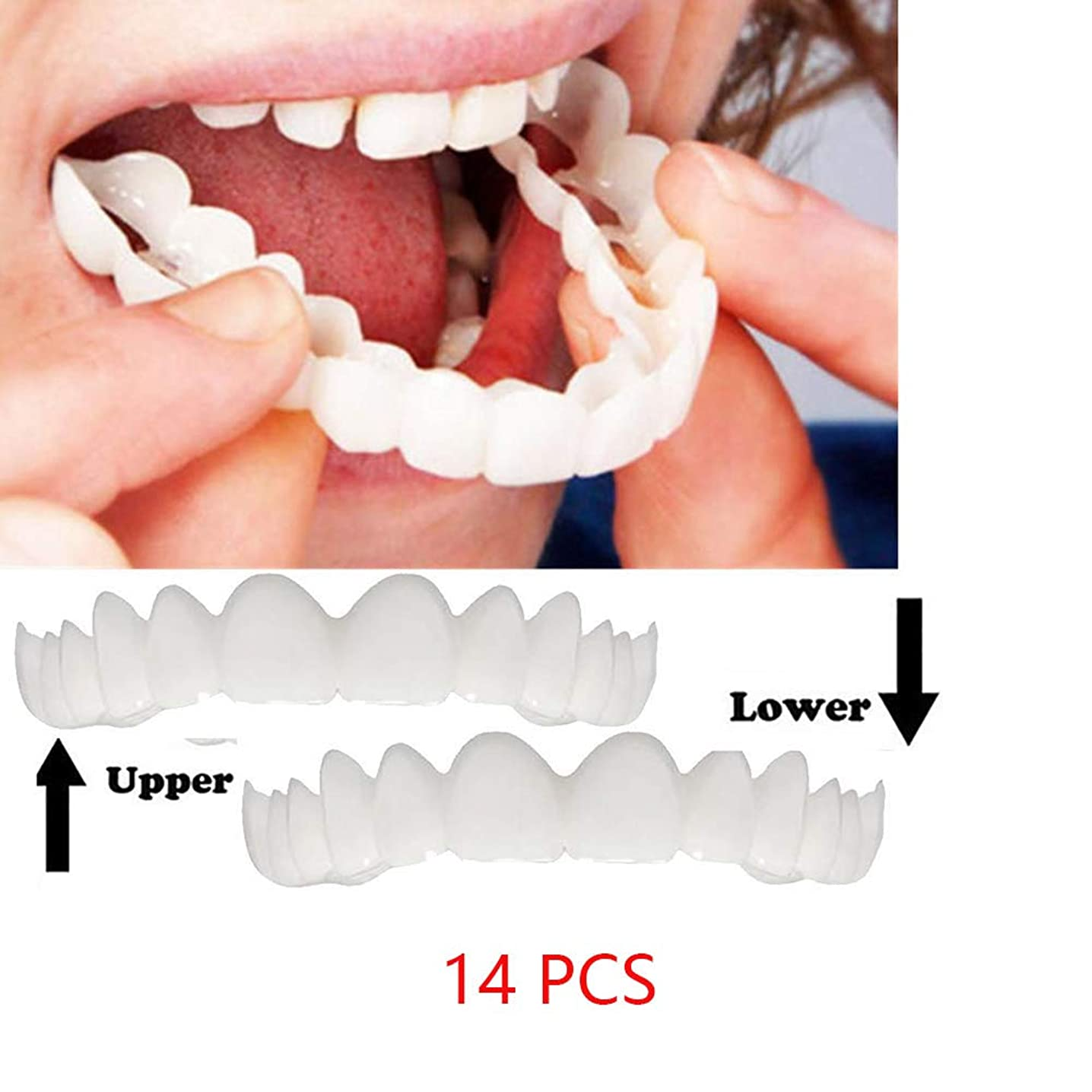 早熟回復チューブ14個の快適で自然な化粧品の偽の歯のカバースナップオンシリコンパーフェクトスマイルベニヤ歯の上と下の美しさの歯男性のための女性(下+上)