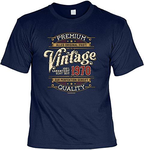 Herren Geburtstag T-Shirt - 50 Jahre - 100% Premium Vintage seit 1970 - lustige Shirts 4 Heroes Geschenk-Set Bedruckt mit Urkunde