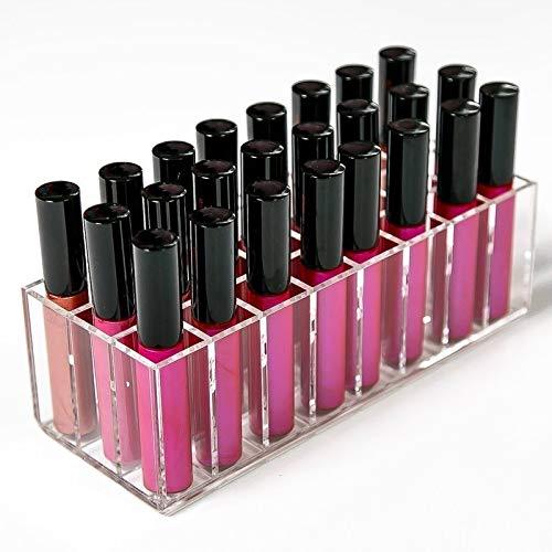 Acrylique Lip Gloss Container 24 Grids Rouge à lèvres Maquillage Organisateur ongles cosmétiques de stockage polonais Boîte Rouge à lèvres Porte d'affichage