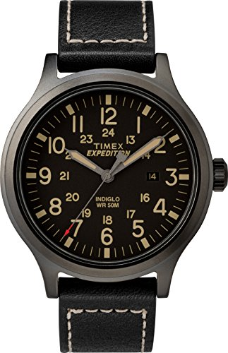 Timex Men's TW4B11400 Expedition Scout 43mm Black Leather Strap Watch