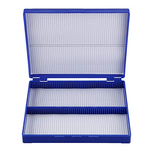 Lopbinte Royal Blue Plastic Rectangle Hold 100 Microslide Slide Microscope Box