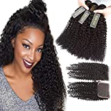 QTHAIR 12A Brazilian Kinky Curly Hair Weave Bundles With Closure(16 18 20+14,Free Part,Natural Black) Afro Kinky Curly Weave Human Hair Bundles with 4x4 Lace Closure Brazilian Hair Weave