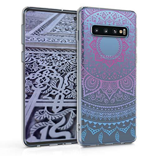 kwmobile Hülle kompatibel mit Samsung Galaxy S10 - Handyhülle - Handy Hülle Indische Sonne Blau Pink Transparent