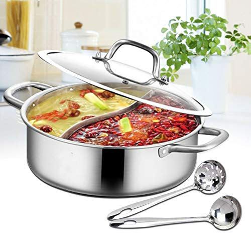 Shabu Hot Pot - Olla de acero inoxidable de doble cara con cucharón de sopa y tapa para cocina de inducción de gas