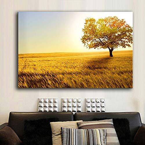 ganlanshu Herbstlandschaft gelber Baum Straßenbaum Leinwanddruck Reisplakat nordisches Wohnzimmer Wandbild,Rahmenlose Malerei,60x83cm