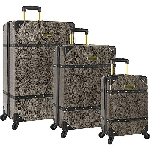 Vince Camuto 3 Piece Hardside Spinner Set-Suitcase, Grey Python