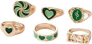 HUANGA 6 Pcs Vert Rouge Anneau Ensemble Vintage Émail Amour Coeur Fleur Nuages Chunky Anneaux Femmes Or Larme Bijoux À L...