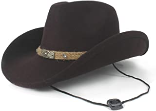 7750561c7e5bd GERUIQI Hipste Women Men Wool Hollow Western Cowboy Hat For Gentleman Roll  Up Brim Sombrero Jazz