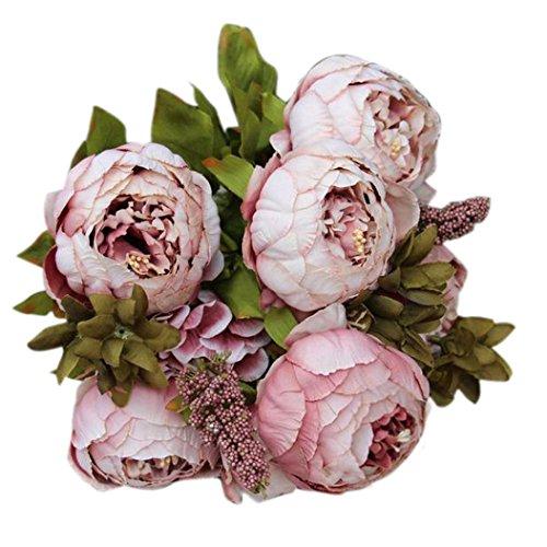 hlhn 8cabeza un ramo flores artificiales artificial peonía seda flores Hojas Decoración Bonsai para oficina hogar escritorio cuadros jardín tienda boda ramos al aire libre fiesta