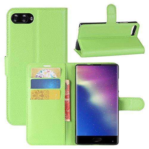 HualuBro Doogee Mix Hülle, [All Aro& Schutz] Premium PU Leder Leather Wallet Handy Tasche Schutzhülle Hülle Flip Cover mit Karten Slot für DOOGEE Mix 5.5 Inch 4G Smartphone (Grün)