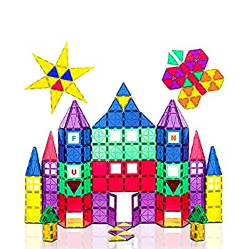 Playmags 100-Piece Colorful Tile Set Unique Award-Winning Magnetic Building Tiles for Kids Creativity and Educational Building Toys for Children STEM Approved