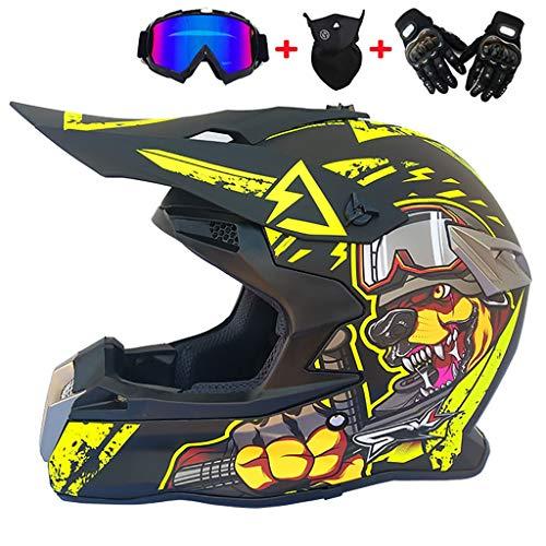 CHAOYUE Casco para Motocross, 4pcs Juego de Casco de Moto + Gafas + Guantes de Motocicleta + Mascarilla, para Hombre Mujer (54-61CM)