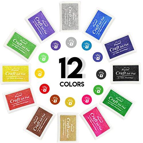 Ink Pad 12 Color Craft Rubber Stamps Partner Set Washable for Stamping Teachers Kids Baby Prints Scrapbooking Fingerprinting Card Making