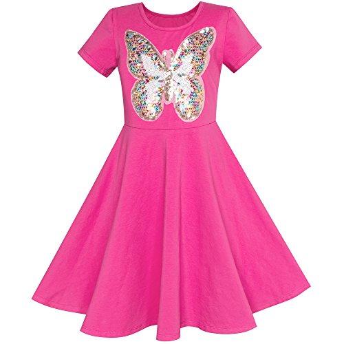 Sunboree Mädchen Kleid Tief Rosa Schmetterling Pailletten Baumwolle Kleiden Gr. 122