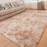GLITZFAS Shaggy alfombras de Pelo Largo alfombras Salon alfombras de habitacion moquetas Sala de Estar para Habitación (Beige,160 * 200cm)