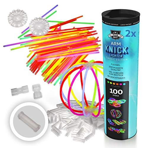 200 Pulseras luminosas, luces plegables, varillas luminosas, pulseras, Incluye 200 conectores 3 dimensiones (2D), 4 conectores circulares de calidad profesional.