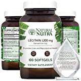 Natural Nutra Soy Lecithin Dietary Supplement from Soybean Oil, Improve Brain Function, Helps to Reduce Anxiety Levels, Promotes Reproductive Health, Liver Health, Non GMO, 1200 mg, 100 Softgels