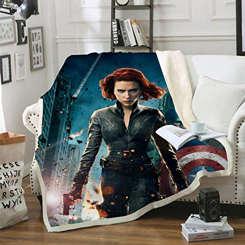 AZSOGOOD 3D-Superheldenmuster-Sofadecke, geeignet für Reisedecke, weiche und Bequeme Bettdecke, Ostergeschenk für Kinder-D_135 x 150 cm * 1