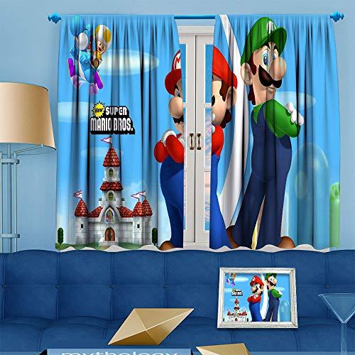 Ma-Rio Art Py Funny Curtain Curtains 63 inch Length Easy to Clean (Ma-Rio and Luigi bros) W55 x L63 Inch