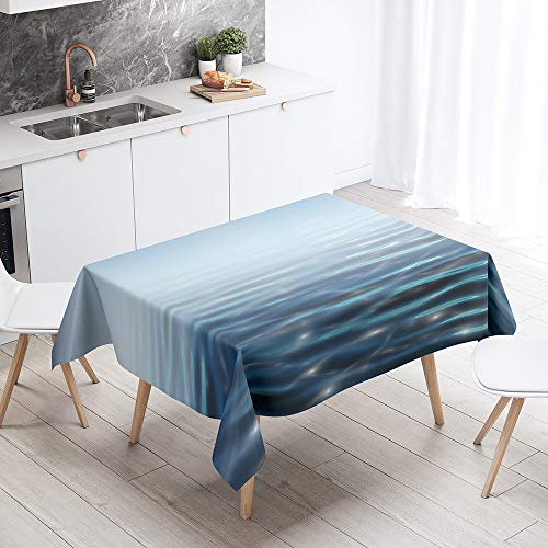 Fansu Rectangular Polyester Waterproof Tablecloth, 3D Lake surface pattern Creative Table Cover,Multi-purpose Decorative for Party Banquet Garden Outdoor or Indoor (sky blue,90x90cm)