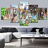 ThreU-5 Pièces Toile Peinture Impression,Décoration De Maison Moderne,Modulaire Panneaux Motif Tableau,Cadeau Parfait,Hayao Miyazaki,Ghibli,Mon Voisin Totoro,Chihiro,100Cm×50Cm,avec Cadre