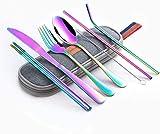 WHWH Juego de cubertería de Acero Inoxidable,4 Packs of Tableware Set Travel Camping Cutlery Set Reusable Silverware with Metal Straw Spoon Fork Chopsticks-Rainbow C