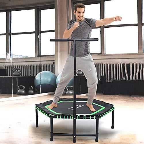ISE Fitness Trampolin,Trampolin für Jumping Fitness Ø 122 cm höhenverstellbarer Haltegriff(113.5-134.5cm),leise Gummiseilfederung,Nutzergewicht bis 120kg,TÜV-Geprüft (Grün)