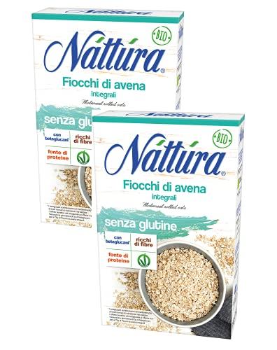 Nattura Copos de avena de grano entero Sin gluten Rico en fibra con betaglucanos Fuente de proteína vegana OK - 2 x 350 Gramos