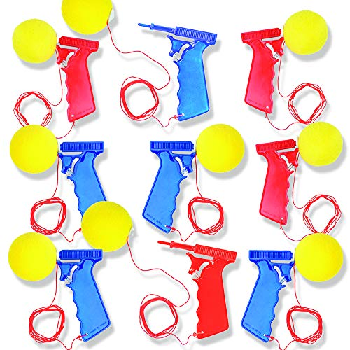 ArtCreativity Sponge Ball Launchers, Pack of 12, 5.5 Inch Foam Ball Toy Shooters, Birthday Party Favors for Kids, Goodie Bag Fillers, Carnival Prize - Red & Blue
