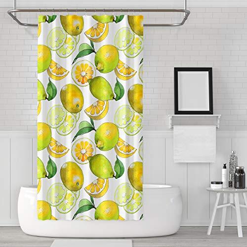 Alicert5II Zitronen Duschvorhang Duschvorhang Zitronen Duschzitrone Badezimmer Zitronenvorhang Zitronen Duschgelb Duschvorhang