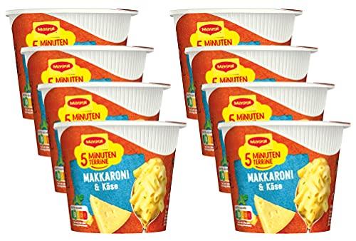 Maggi 5 Minuten Terrine Makkaroni und Käse, leckeres Fertiggericht, Instant-Nudeln in cremiger Käsesauce, 8er Pack (8 x 63g)