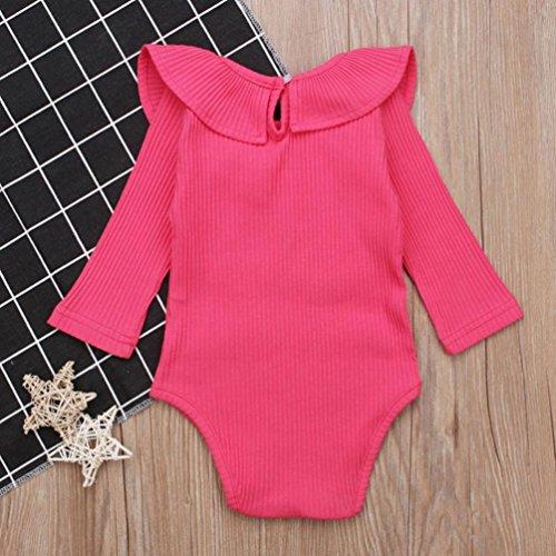 Wanshop Baby Romper, Newborn Toddler Girls Cute Ruffled Long Sleeve Romper Bodysuit Sunsuits (3-6 Months, Hot Pink)