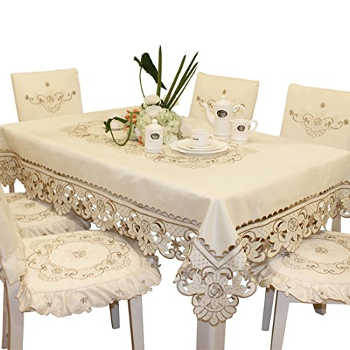 Brown Flower Embroidered lace Cream Tablecloth Rectangular 68 inch x 120 inch Approx Extra Large