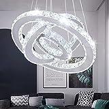 Lámpara LED elíptica de araña moderna de cristal de acero inoxidable, lámpara de techo para dormitorio, blanco cálido y blanco frío (blanco frío 2)