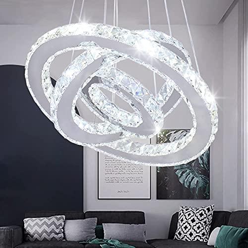 Lampadario a sospensione a LED in acciaio inox, luce bianca fredda (bianco freddo)