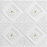 LKXHarleya 3D Foam White Decorative Wall Panels, Self Adhesive Brick Wall Stickers Wallpaper Ceiling Panel TV Wall Office Home Decor,Yellow,1 Pack