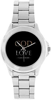 Special Design Christian Bible Verse, Renaissance Collection, Christian Religious Gift Custom Unisex Stainless Steel Watch, 100% Stainless Steel, Metal Silver